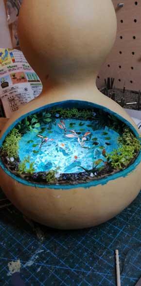 ジオラマ ひょうたん モネの池 ランプ 作品 アート すみじろう