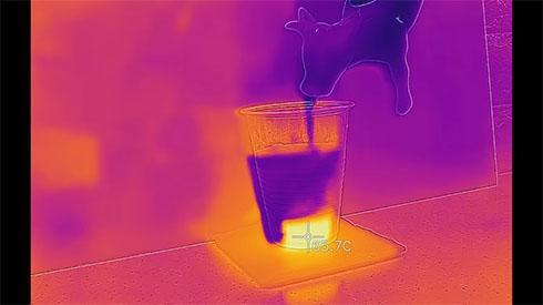 石灰水のサーモグラフィー画像