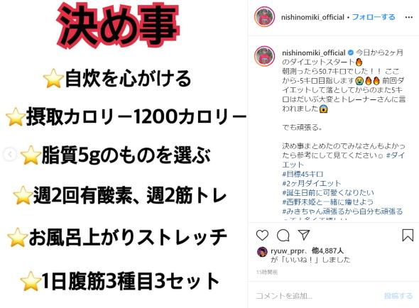 西野未姫 ダイエット AKB48