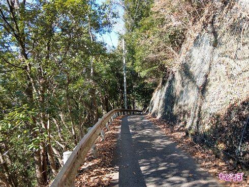 片側はむき出しの岩肌、反対側は崖です