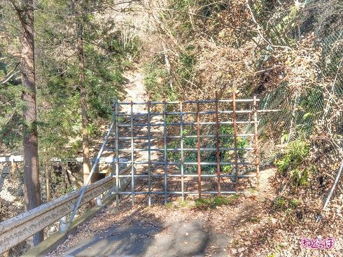 単管パイプでできた「壁」。奥には崩落が見える(ゲートの外側からズームで撮影)