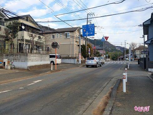 県道517号が分かれる十字路を直進します