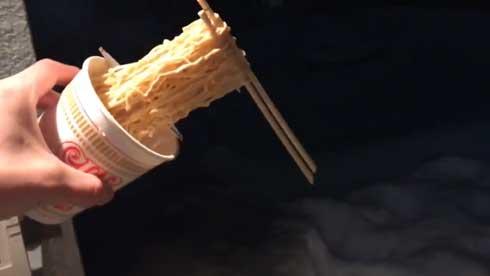 箸上げラーメン マイナス22.6度 1.5時間 作れる 北海道 カップヌードル 固まる 寒さ
