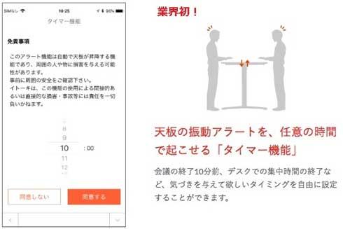 Workcise App.  toiro トイロ 長時間 座りすぎ 防止 昇降 知らせる デスク アプリ