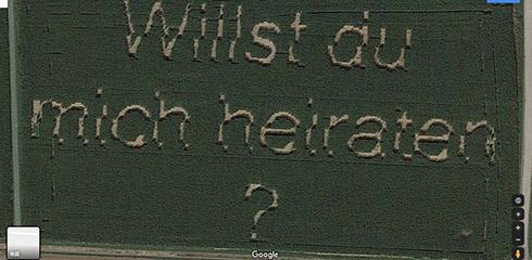 トウモロコシ畑でプロポーズ 個人的な求婚メッセージがGoogleマップを通して世界中に知られることに