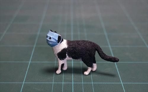 マスクする猫のフィギュア