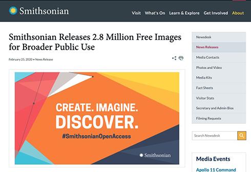スミソニアンが無料で商用利用できる画像280万件を公開