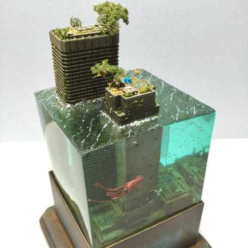 水没ジオラマ 建物 レジン 海 作品 MASAKI