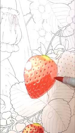 コピック 塗り いちご 色 きれい 影 制作過程 絵描き ほしみ