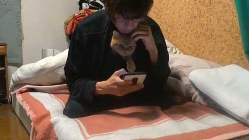 内臓を食い破るタイプ 猫 カンガルー 番長 胸元 すっぽり 侵入