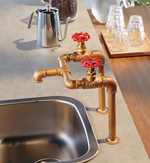 「厨房用2ハンドル混合栓」取り付け例