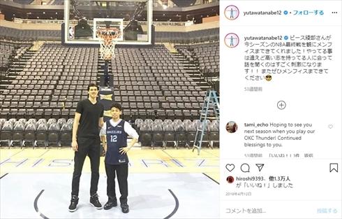 渡邊雄太 NBA 身長 ソーシャルディスタンス Instagram メンフィス・グリズリーズ ピース 綾部祐二