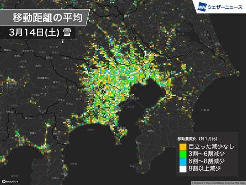 東京 雪 人の移動 緊急事態宣言 移動量 距離 減少率 7割減 新型コロナウイルス