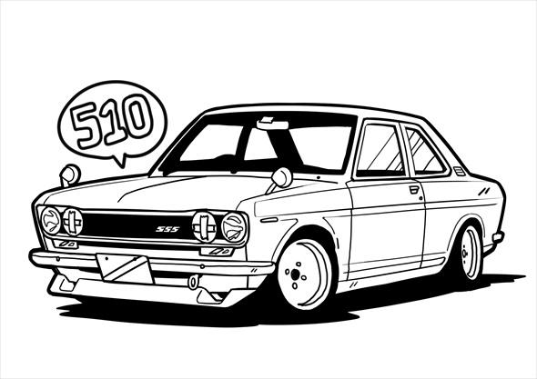 日産「ブルーバードSSS 510」の塗り絵(画像:日産自動車、以下同)
