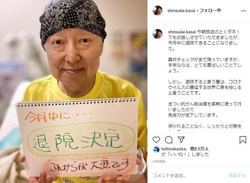 笠井信輔 笠井アナ がん 癌 悪性リンパ腫 退院