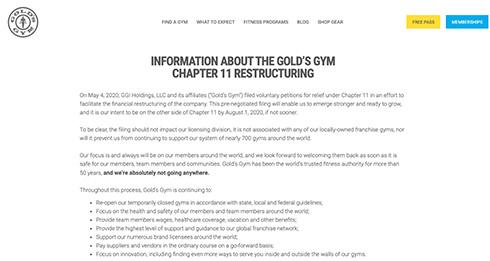 米ゴールドジム、新型コロナの影響で経営破綻に CEO「ゴールドジムはどこへも行かない」