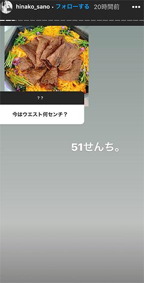 佐野ひなこ 体重 ウエスト 51 くびれ Instagram ストーリーズ 質問