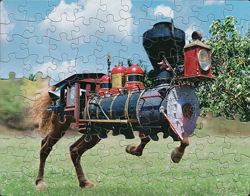 「鉄の馬」やダ・ヴィンチとゴッホの融合 別々のジグソーパズルで作られたシュールアート作品
