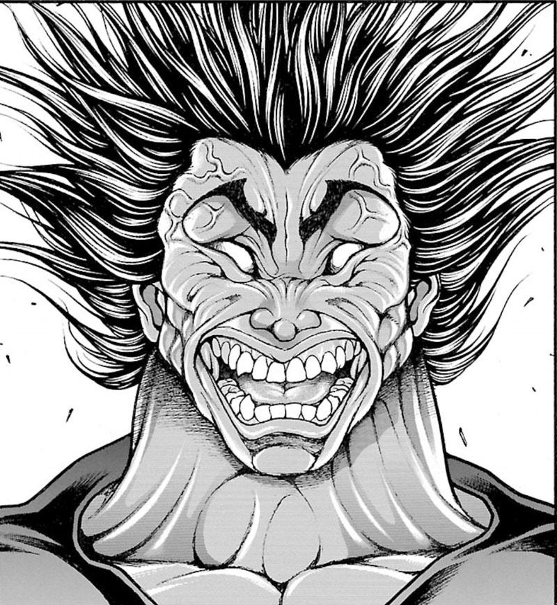 モデルとなった、本部以蔵にキレる勇次郎(『刃牙道』9巻より)。チョイスのクセが強い
