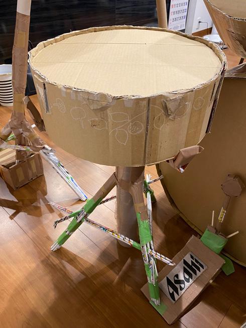 ダンボールで作ったスネアドラム