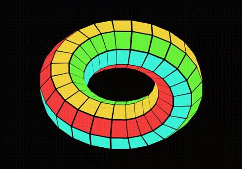 メビウスルービックキューブの色がそろったところ