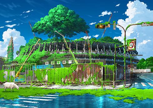 廃墟となった新国立競技場や緑化した新宿駅 東京幻想さんの作品集が書籍化