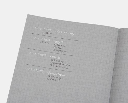 白と黒で書くノートでタイトルを白にして目立たせている