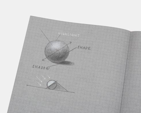 白と黒で書くノートに球を描いたところ