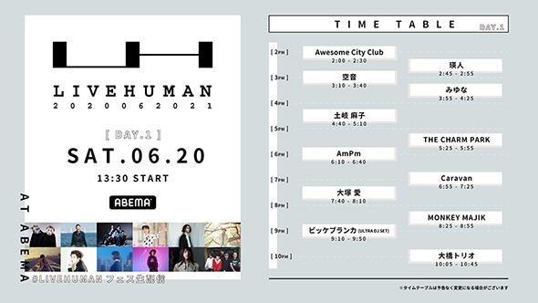 オンライン音楽フェス LIVE HUMAN 2020 瑛人 りりあ。 サブスク 出演