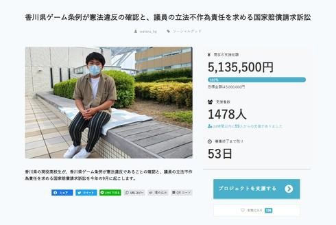 香川県ゲーム条例が憲法違反の確認と、議員の立法不作為責任を求める国家賠償請求訴訟
