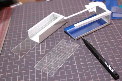 ビルっぽい ジオラマ 手作り テープ プラ板 切れ込み ミニチュア 高層ビル