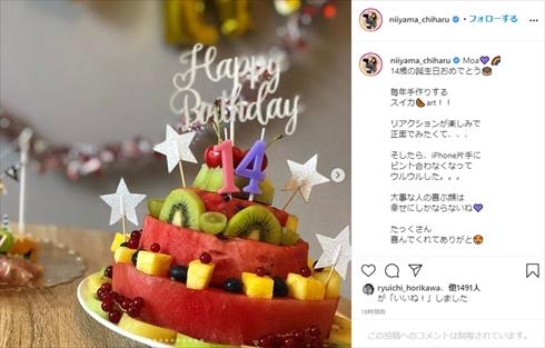 新山千春 親子 娘 誕生日 スイカケーキ インスタ