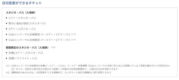 ユニバーサル・スタジオ・ジャパン USJ 購入済み入場券 日付変更特別ルール 東京都在住者 1年後 希望日 手数料