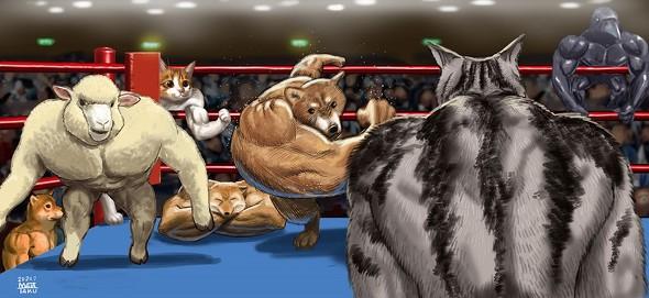 マッチョアニマル 集合イラスト マッチョ 羊 猫 右フック犬 マッスルギツネ 筋肉 動物