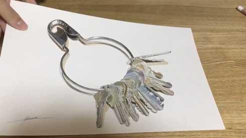 色鉛筆 イラスト 絵 鍵 金属感 リアル 慧人
