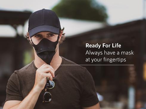 帽子とマスクが一体型になった「ハイドアマスク」 マスクの持ち運びが手軽に