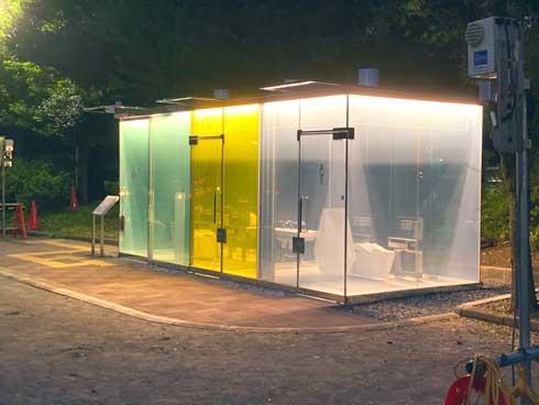 渋谷区 公共トイレ 透明 トイレ 鍵をかけると 見えなくなる 丸見え 仕組み