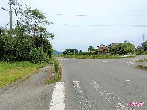 振り返って。直進が市道、右側が県道です