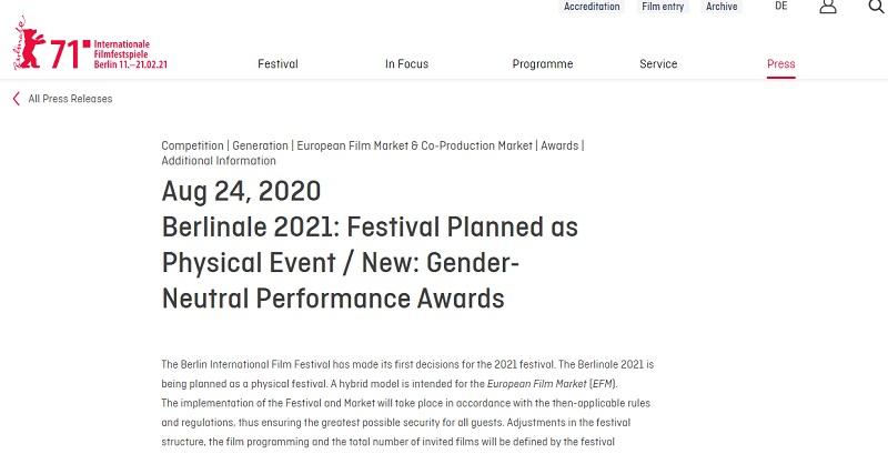 ベルリン国際映画祭が男優賞と女優賞を廃止、性別のない賞へ 映画業界の「ジェンダーへの配慮を意識するきざしに」
