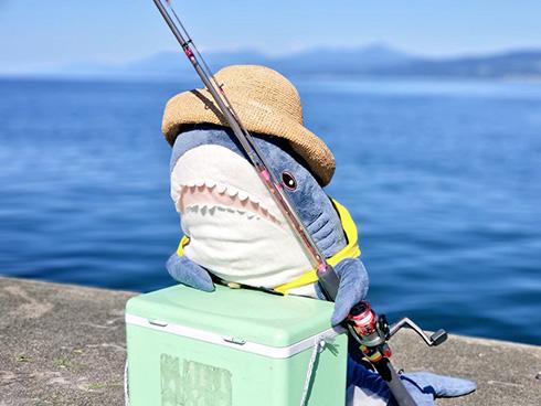 たくさん釣れるかな? ベテラン釣り師の風格ただようIKEAのサメがかわいい