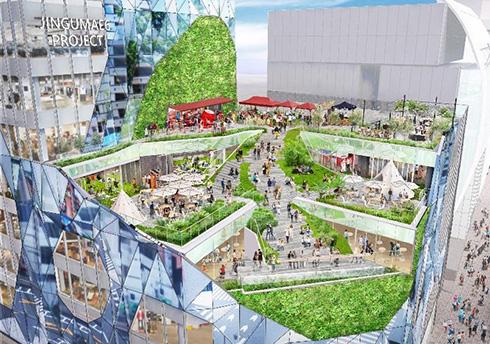 ガラスの反射で人や緑を編み込む外装デザイン 2022年度に表参道・明治通り交差点にゲームに出てきそうな新施設が登場予定