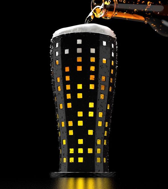 ビール グラス 夜景 アイデア スーパーマーケットカカム