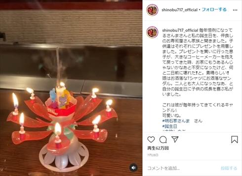 大竹しのぶ IMALU 明石家さんま 誕生日 インスタ 夫婦 長男 ドリームキャンドル