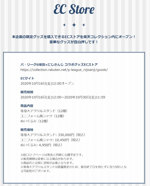 にじさんじ パ・リーグ プロ野球 コラボ 等身大アクリルスタンド33万円