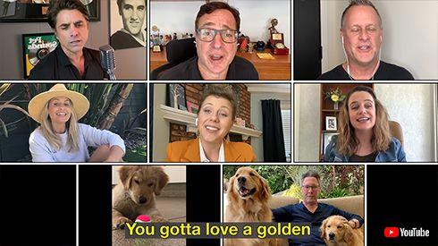 フルハウス フラーハウス 海外ドラマ ジェフ・フランクリン ジョン・ステイモス ボブ・サゲット デイブ・クーリエ ジェシーおじさん オルセン姉妹 ゴールデンレトリバー 犬 チャリティー
