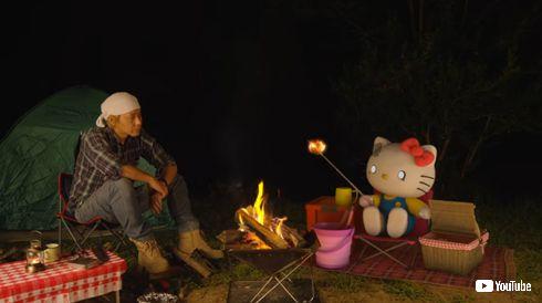 ヒロシ ハローキティ 焚き火