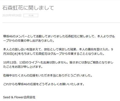 欅坂46 石森虹花 卒業