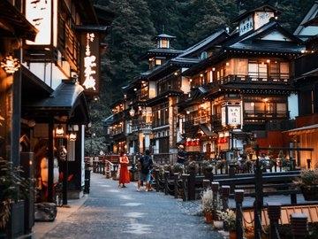 銀山温泉 絶景写真
