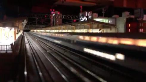鉄道 新幹線 Nゲージ パンタグラフ 夜景 鉄道模型
