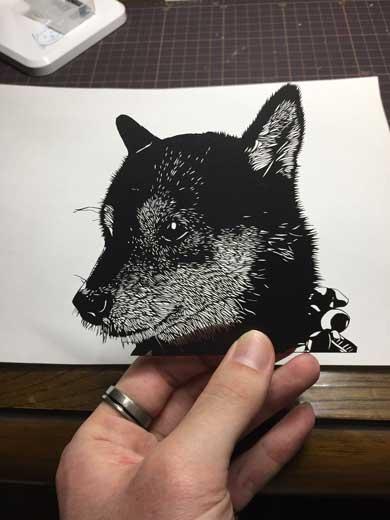 切り絵 黒い紙 デザインナイフ 風景 夜景 斉藤洋樹